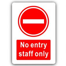 No Entry Staff Only-Aluminium Metal Sign-150mmx100mm-Door,Notice,Business,Premises,Private,Office